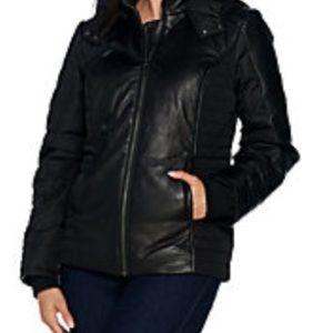 Halston lamb leather motorcycle puffer jacket. 4